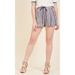 ModCloth Master of Casual Shorts in Navy Stripes